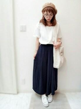 maamin♡さんの「・20/-OE天竺ポケット付きVネックTシャツ(E hyphen world gallery|イーハイフンワールドギャラリー)」を使ったコーディネート