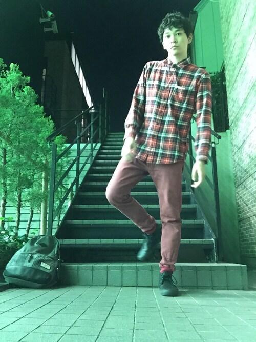 smart編集部公式アカウントさんの「MEN フランネルチェックシャツ(レギュラーカラー・長袖)17(ユニクロ)」を使ったコーディネート