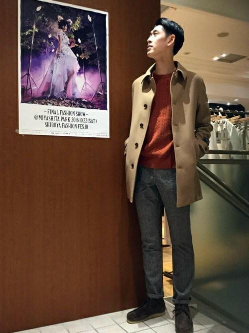 SHIPS 渋谷店瀬谷さんのニット/セーター「SC: 9ゲージ カシミヤ ケーブル クルーネックニット(SHIPS|シップス)」を使ったコーディネート