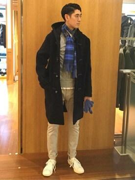 SHIPS 渋谷店|瀬谷さんのマフラー/ショール「BEGG: ラムウール/アンゴラ タータンチェック マフラー(Begg & Co|ベグアンドコー)」を使ったコーディネート