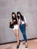 「Topshop Moto 'Joni' Ripped High Rise Skinny Jeans (Regular & Short)(Topshop)」 using this 三文鱼吃不吃 looks