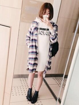yuuさんの「ロングネルシャツ(Lily Brown|リリー ブラウン)」を使ったコーディネート