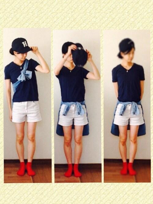 yuiさんの「VネックTシャツ(無印良品)」 ...
