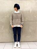 tomoyosonodaさんの「TORI-TO / 変形編み 切替クルーニット(BEAMS BOY|ビームスボーイ)」を使ったコーディネート