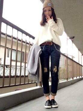 -natsumi-さんの「【Classy】ラクーンプレーンニット(Ungrid)」を使ったコーディネート