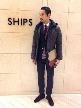 SHIPS 福岡店|伊藤さんの「SD: ALBINI社製生地 ツイルストライプ クレリック ワイドカラーシャツ(SHIPS)」を使ったコーディネート