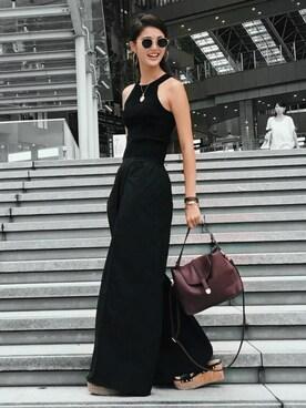 Karen  Kageyama さんの「WOMEN オックスフォードワイドパンツ+E(ユニクロ|ユニクロ)」を使ったコーディネート