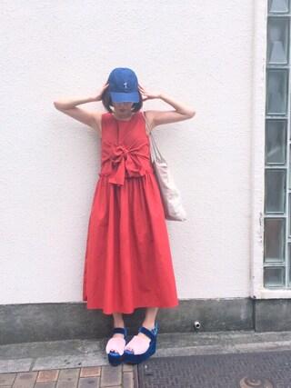 吉河唯さんの「SNOOPY CAP(merry jenny|メリージェニー)」を使ったコーディネート