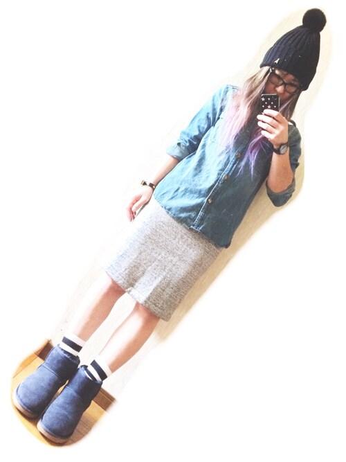 RONIさんの「UNIQLO/ボアスウェットスカート(UNIQLO)」を使ったコーディネート