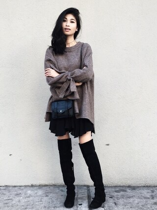 「ALDO Beilla Point Mid Heeled Over the Knee Boots(Aldo)」 using this VANNY looks