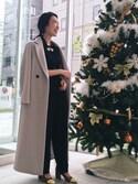 sakurako katafuchiさんの「ドビーダブルクロスロンパース(ADAM ET ROPE' アダム エ ロペ)」を使ったコーディネート