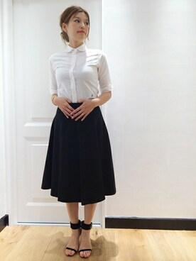 Deuxieme Classe 本社|HIROさんの「◆MADISON BLUE オックス丸襟シャツ(Deuxieme Classe|ドゥーズィエムクラス)」を使ったコーディネート