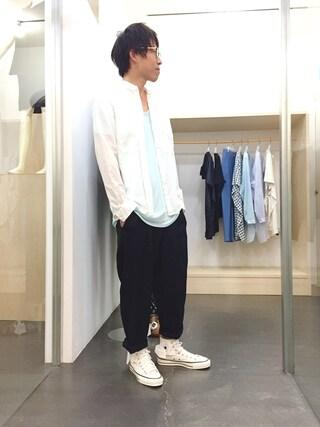 casaguccaさんの「ノーカラーワークシャツ(COSMIC WONDER|コズミックワンダー)」を使ったコーディネート