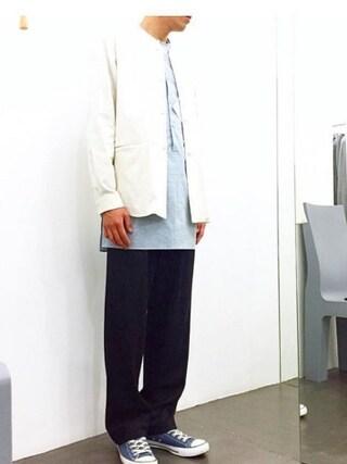 casaguccaさんの「ピンストライプウールパンツ(no brand|ノーブランド)」を使ったコーディネート
