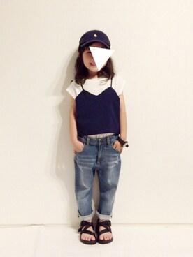 yuuunaさんの「キャミソール付きTシャツ(petit main)」を使ったコーディネート