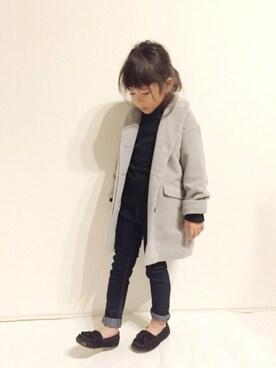 yuuunaさんの「ドロップショルダーチェスターコート(petit main プティマイン)」を使ったコーディネート