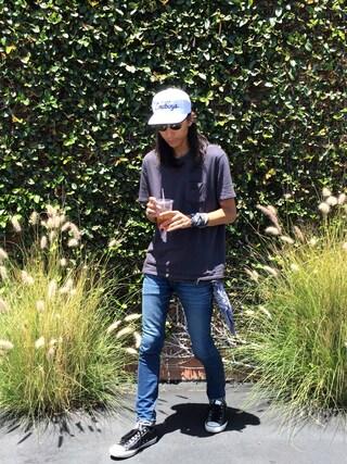 「BEN DAVIS BLACKOUT COLLECTION CREW NECK POKET TEE(BEN DAVIS BLACKOUT COLLECTION)」 using this BENCH AT THE GREENE|RYOTA MIYOSHI looks