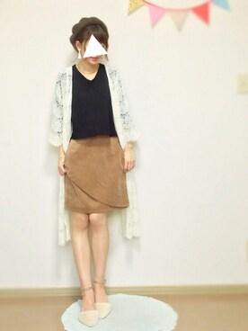 mamoさんの「【mystic】ムジフロント重ね台形スカート(mystic|ミスティック)」を使ったコーディネート