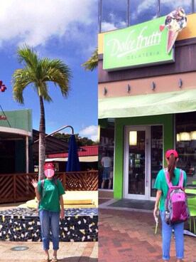 汀さんの「サッカーブラジルのユニフォーム10番柄のビーサン。黄色と緑の色合いが夏にピッタリ。今はネイマールだけど、一昔前はカカだったのだ…2010年W杯が盛り上がった時にカカが好きになって買ったもの(にわか)(havaianas|ハワイアナス)」を使ったコーディネート