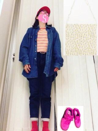 汀さんの「ジョグデニムパンツ (正にこんなのが欲しかった!デザイン、色、履き心地が良くてお気に入り◎セール価格¥3,000)(ikka イッカ)」を使ったコーディネート