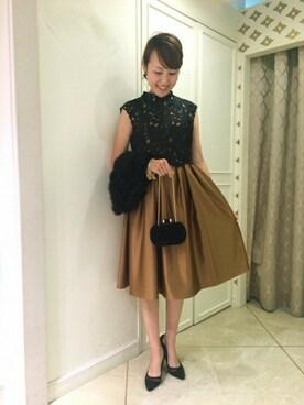 AIMER 松本パルコ店|eriさんの「【AIMER】レース×サテン プチハイネックワンピースドレス(AIMER)」を使ったコーディネート