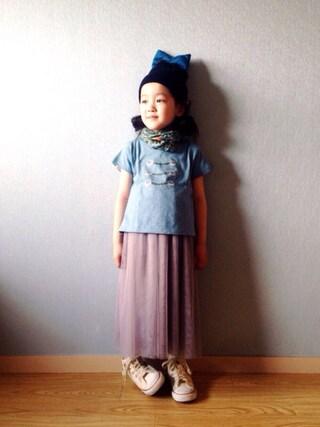 riccarinさんの「michirico / ボタンプリント Tシャツ (90~115cm)(こども ビームス|コドモビームス)」を使ったコーディネート