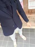 クロポーノさんの「MEN ストレッチウールジャケット(スリム)(ユニクロ|ユニクロ)」を使ったコーディネート