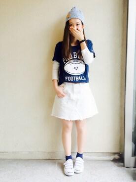 haru ◎さんの「プリント半袖Tシャツ(Champion|チャンピオン)」を使ったコーディネート