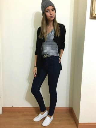 「Chaus Ribbed Front Jersey Cardigan(Chaus)」 using this Jessika Rodriguez looks