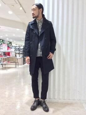 MORGAN HOMME渋谷|文太さんの「【WEB先行予約】 ダブルトレンチコート(MORGAN HOMME)」を使ったコーディネート