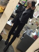 「Ultimate faux leather biker jacket with asymmetric zip front, zipped sleeves and side pockets. 100% polyurethane. dry clean only.(Topshop)」 using this Yuri mom.♡ looks