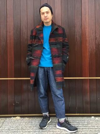 UNITED ARROWS|Shinsaku Masudaさんの「UAS コットン カシミヤ クルーネック ニット(UNITED ARROWS|ユナイテッドアローズ)」を使ったコーディネート