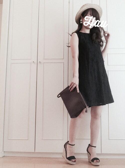 黒 GUサマードレス デート サンダルコーデ