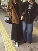草野春香さんの「チュールレイヤードワイドパンツ(MURUA|ムルーア)」を使ったコーディネート