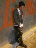 Eden Christianさんの「Slim Wool-Flannel Tie(Thom Browne|トムブラウン)」を使ったコーディネート