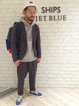 SHIPS JET BLUE ルミネエスト新宿店|西川さんの「JB: TR ウインドウペン ジャケット 14SS(SHIPS JET BLUE)」を使ったコーディネート