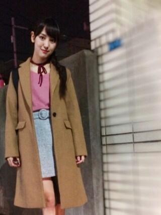 飯窪春菜さんの「カラーミニ台形スカート(dazzlin ダズリン)」を使ったコーディネート