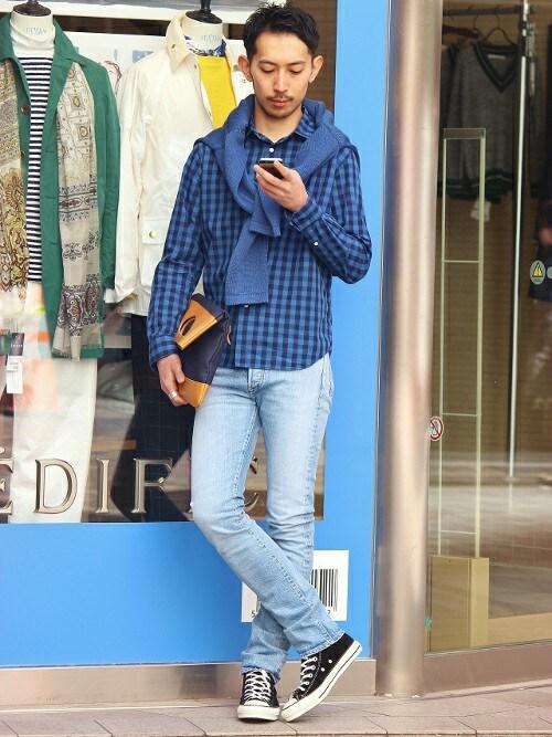 EDIFICE新宿店 | JUN ITOHさんのシャツ/ブラウス「EDIFICE ◇インディゴモチーフショートレギュラーシャツ」を使ったコーディネート