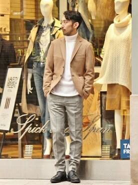 EDIFICE新宿店|JUN ITOHさんの「◇CASHMERE リブタートルネックニット(EDIFICE)」を使ったコーディネート