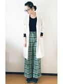 麻絵さんの「切り売りハラマキ 無地(une nana cool|ウンナナクール)」を使ったコーディネート
