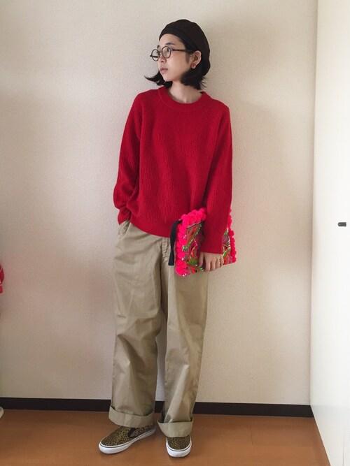 麻絵さんの「ツイードベレー帽0965(merlot)」を使ったコーディネート