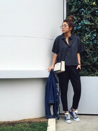 今井華さんの「オーバーポロシャツ(FLOVE|フローブ)」を使ったコーディネート