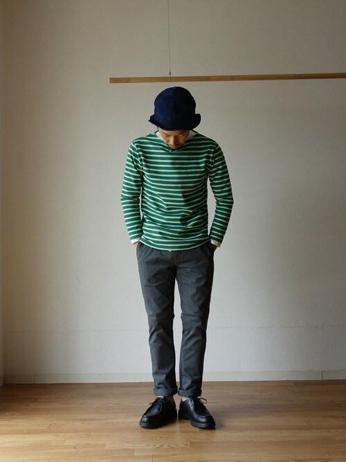 セントジェームスバスクシャツ×ハット×ナイロンパンツ×ドレスシューズ 画像1