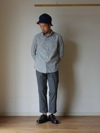 comoda comoda上西猛夫さんの「nisica mokusiro ニシカ モクシロ SMALL STAND NECK SHIRT スモールスタンドネックシャツ GREY グレー(nisica ニシカ)」を使ったコーディネート