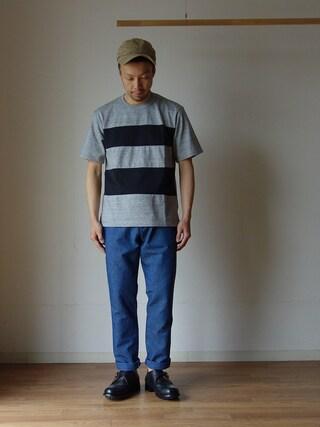 comoda|comoda上西猛夫さんの「F.O.B エフオービーファクトリー FRENCH WORK PANTS フレンチワークパンツ ブルー(FOB FACTORY|エフオービーファクトリー)」を使ったコーディネート