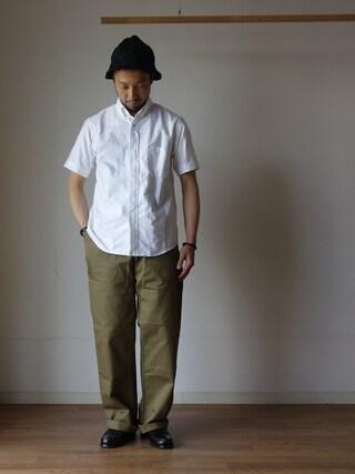 comoda|comoda上西猛夫さんの「nisica ニシカ B.D SHIRT SHORT SLEEVE ボタンダウンシャツ半袖 WHT ホワイト(nisica|ニシカ)」を使ったコーディネート