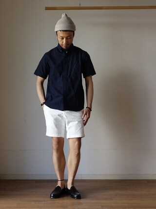 comoda|comoda上西猛夫さんの「nisica ニシカ B.D SHIRT SHORT SLEEVE ボタンダウンシャツ半袖 NVY ネイビー(nisica|ニシカ)」を使ったコーディネート
