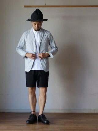 comoda|comoda上西猛夫さんの「【夏のジャケットスタイルに!】F.O.B エフオービーファクトリー F2338 TAILORED JACKET テーラードジャケット L・GRY ライトグレー(FOB FACTORY|エフオービーファクトリー)」を使ったコーディネート