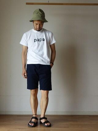 comoda|comoda上西猛夫さんの「15jyugo ジュウゴ PAPA-T パパT WHT ホワイト(15jyugo|ジューゴ)」を使ったコーディネート
