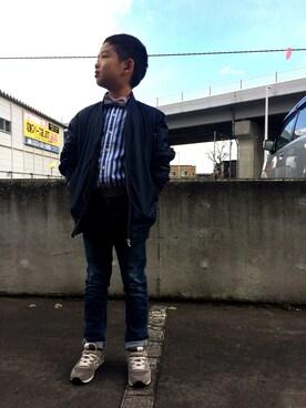 hiro0813さんの「【ジュニアサイズ対応】リブ付き テーパードデニム(Lee|リー)」を使ったコーディネート
